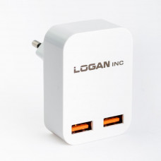 Зарядное устройство LOGAN Dual USB Wall Charger 5V 2A (CH-2 White) - Фото №1