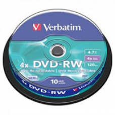 Диск DVD Verbatim 4.7Gb 4x Cake box 10шт (43552)