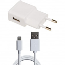 Зарядное устройство Grand-X 1*USB, 1A, White, + cable USB -> Lightning, Cu, 2.1А, 1m (CH765LTW)