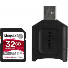 Карта памяти Kingston 32GB SDHC class 10 UHS-I U3 React Plus + USB-кардридер (MLPR2/32GB) - Фото №1