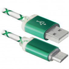 Дата кабель USB08-03LT USB - Micro USB, GreenLED backlight, 1m Defender (87557) Тип - кабель, тип Вх