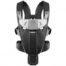Рюкзак-переноска Baby Bjorn Baby Carrier Miracle Cotton Mix Black/Silver (96065) - Фото №1