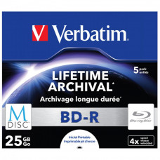 Диск BD Verbatim DL 25Gb 4x Jewel Case 5шт M-Disc Archival Media (43823) - Фото №1