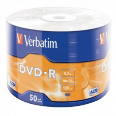 Диск DVD Verbatim 4.7Gb 16X Wrap-box 50шт MATT SILVER (43788) - Фото №1