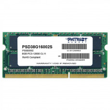 Модуль памяти для ноутбука SoDIMM DDR3 8GB 1600 MHz Patriot (PSD38G16002S) - Фото №1