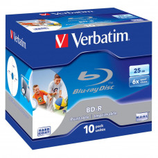 Диск BD Verbatim 25Gb 6x Jewel 10шт Printable (43713) - Фото №1