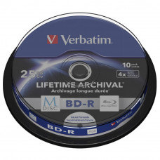 Диск BD Verbatim 25Gb 4x Cake 10pcs Printable M-DISC (43825) - Фото №1