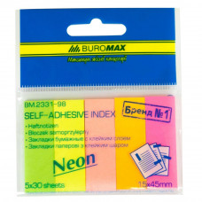Стикер-закладка BUROMAX Plastic bookmarks 45x15mm, 5*30шт, rectangles, neon colors (BM.2331-98) - Фото №1