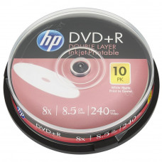 Диск DVD HP DVD+R 8.5GB 8X DL IJ PRINT 10шт Spindle (69306) - Фото №1