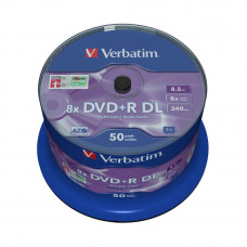Диск DVD Verbatim 8.5Gb 8X CakeBox 50 шт MATT SILVER SURFACE (43758) - Фото №1