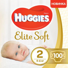 Подгузник Huggies Elite Soft 2 Giga (4-6 кг) 100 шт (5029053548517) - Фото №1