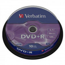 Диск DVD Verbatim 4.7Gb 16X CakeBox 10шт Silver (43498) - Фото №1