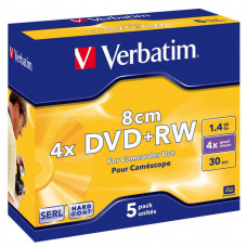 Диск DVD Verbatim mini 1.4Gb 4X Jewel 5шт Matt Silver (43565) - Фото №1