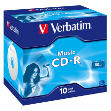 Диск CD Verbatim 700Mb 16x Jewel Case 10 Pack Music (43365) - Фото №1