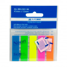 Стикер-закладка BUROMAX Plastic bookmarks 45x12mm, 5х20шт, rectangles, neon colors (BM.2301-98) - Фото №1