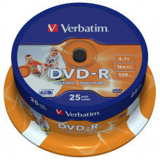 Диск DVD Verbatim 4.7Gb 16X CakeBox 25шт Printable (43538) - Фото №1