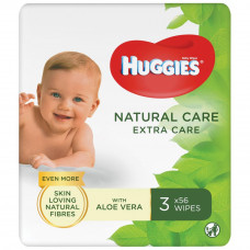 Влажные салфетки Huggies Natural Care Extra Care 3 х 56 шт (5029054222140) - Фото №1