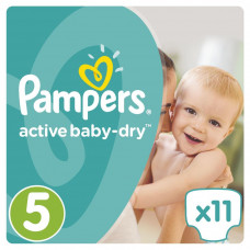 Подгузник Pampers Active Baby-Dry Junior Размер 5 (11-18 кг), 11 шт (4015400647577) - Фото №1