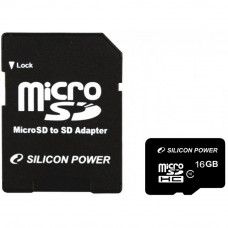 Карта памяти Silicon Power 16Gb MicroSD class 10 (SP016GBSTH010V10SP) - Фото №1